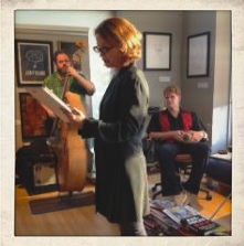 Constance Macy reading Howl while I play bass, and Hugh bangs the skins